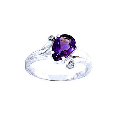 QP Jewellers Diamond & Amethyst Flank Ring in 14K White Gold - Size F