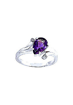 QP Jewellers Diamond & Amethyst Flank Ring in 14K White Gold