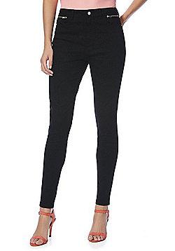 F&F Tonal Leopard Print Skinny Twill Trousers - Black