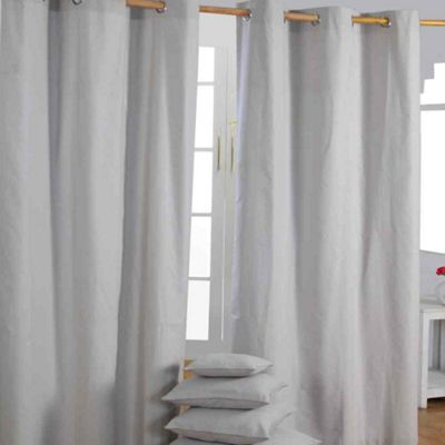 Homescapes Cotton Plain Grey Ready Made Eyelet Curtain Pair, 137 x 182 cm