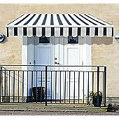 Outsunny 3m x 2.5m Garden Awning with Winding Handle in Blue & White