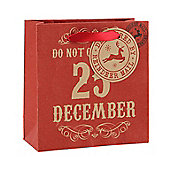 Red Do Not Open Christmas Gift Bag - Small