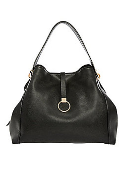 F&F Grained Faux Leather Hobo Bag Black One Size