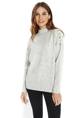 Wallis Eyelet Turtleneck Jumper L Grey