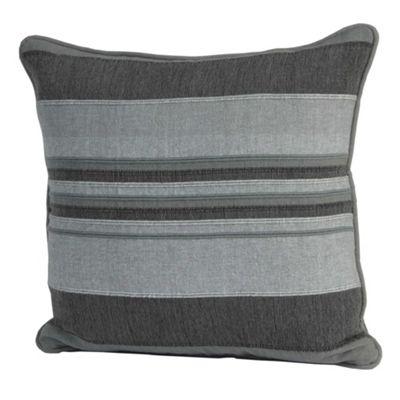 Homescapes Cotton Striped Grey Cushion Cover Morocco, 45 x 45 cm