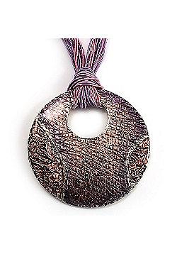 Pink Round Enamel Silk Cord Pendant Necklace (Silver Tone)