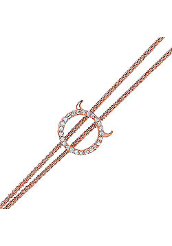 Rose Gold-Plated Sterling Silver Round Brilliant Cubic Zirconia Halo with Devil Horns Bracelet