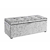 Silver Crushed Velvet Storage Ottoman Blanket Box