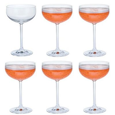 Dartington Crystal Set of 6 Glass Champagne and Sparkling Wine Saucer Glasses 280ml