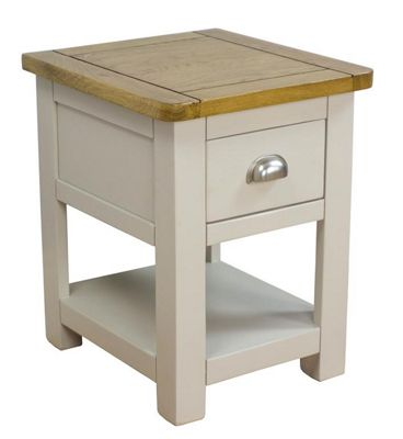 Wellington Oak Lamp Table / Grey Painted Side Table With Solid Oak Top