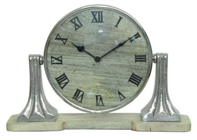 Round Mango Wood Spinning/Adjustable Table Clock Nickel Base
