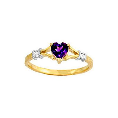 QP Jewellers Diamond & Amethyst Heart Ring in 14K Gold - Size G 1/2