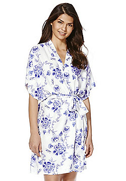 F&F Floral Print Woven Dressing Gown - White & Purple