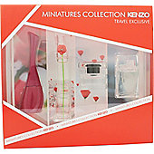 Kenzo Miniatures Collection Gift Set 4ml Amour EDP + 4ml Flower EDP + 4ml Flower in the Air EDP + 4ml L'eau Par Kenzo EDT For Women