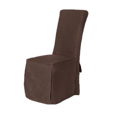 Loft 25 Linen Fabric Scroll Top Dining Chair Covers - Chocolate Brown