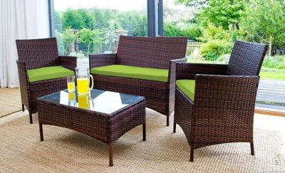 Gardenista 3 Piece Seat Pad Set for Rattan Patio Furniture Set - Lime