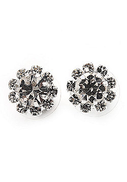 Small Clear Diamante Stud Earrings In Silver Finish - 10mm Diameter