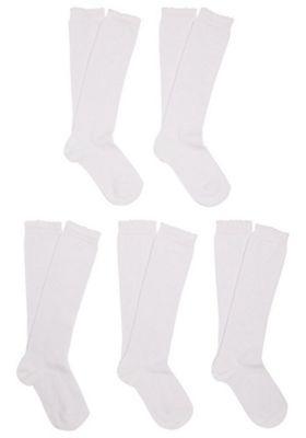 F&F 5 Pair Pack of Scallop Trim Fresh Feel Knee High Socks Shoe Adult 04-05 1/2 White