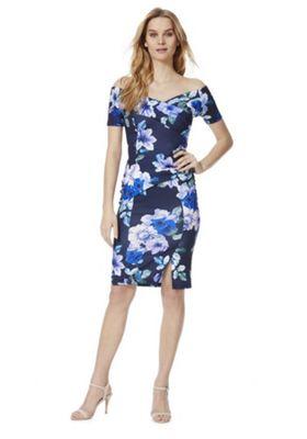 Feverfish Floral Print Bardot Dress Lilac Multi 18