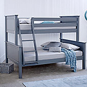 Happy Beds Vancouver Wood Kids Triple Sleeper Bunk Bed with 2 Memory Foam Mattresses - Grey - 4ft Small Double