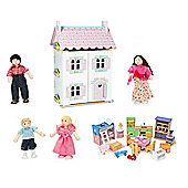 Le Toy Van Sweetheart Cottage with My Family of 4 Dolls