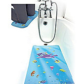 Clevamama Large Non Slip Baby Toddler Bath Mat & Kneeling Cushion Under the Sea