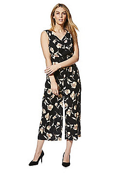 Mela London Floral Print V-Neck Jumpsuit - Black