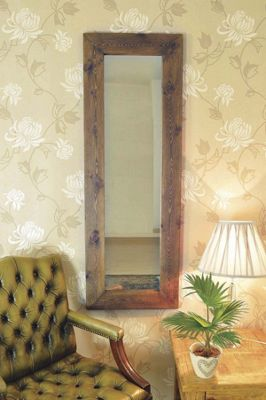 Large Natural Solid Wood Dressing Wall Mirror 4Ft8 X 1Ft8 (142Cm X 51Cm)