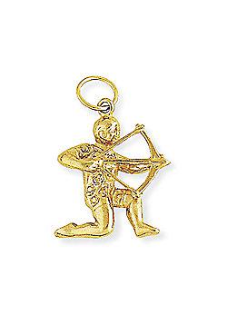 Jewelco London 9ct Light Yellow Gold - Sagittarius Charm Pendant -