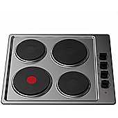 Cookology SEP600SS 60cm Solid Plate Hob | Stainless Steel Hotplate, 4 Zone, Electric, Built-in, 600mm