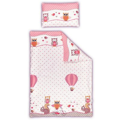 Pink Owl & Squirrel Cot Bed Duvet Cover Set - 100% Cotton