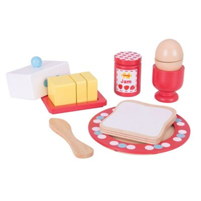 Bigjigs Toys Wooden Breakfast Set - Play Food and Role Play for Children
