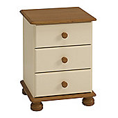 Steens Richmond 3 Drawer Bedside Cream/Pine