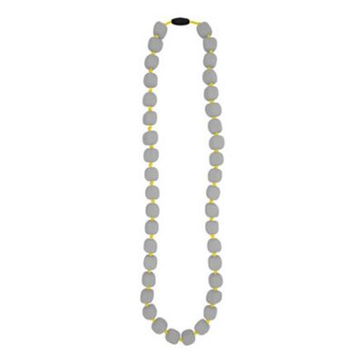 Jellystone Pea Teething Necklace in Just Grey with Yellow String