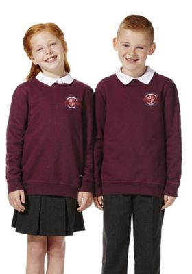 Unisex Embroidered Cotton Blend School Sweatshirt with As New Technology 5-6 years Burgundy