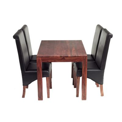 Indian Hub 5 Piece Cube Sheesham Dining Room Set With Leather Chairs