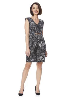Mela London Graphic Print Shoulder Pad Dress 14 Black