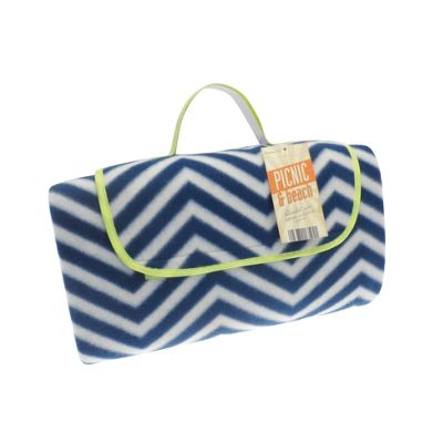 Country Club Picnic, Beach Blanket 130 x 150cm, Blue & White Zig Zag