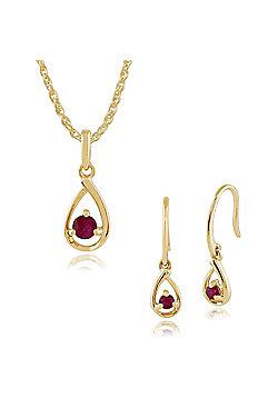 Gemondo 9ct Yellow Gold Single Stone Ruby Drop Earrings & 45cm Necklace Set