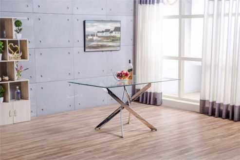 Leonardo Glass And Chrome Metal Dining Table