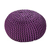 EHC Braided Hand Knitted Round Foot Stool Pouffe, Purple