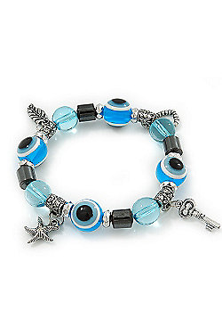 Evil Eye Light Blue Acrylic Bead Protection Stretch Bracelet In Burn Silver - 9mm Diameter - Adjustable