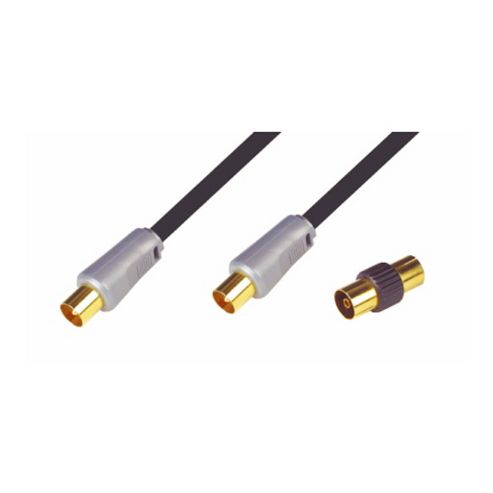 Nikkai High Quality Coax Aerial Lead TV Cable Gold 1.5M