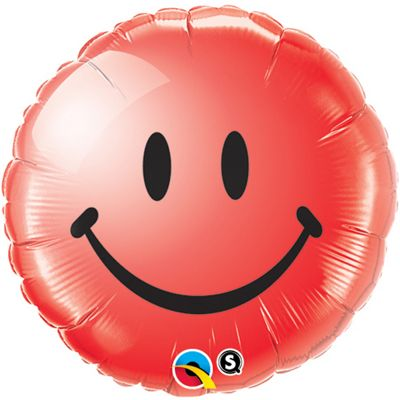 Smiley Face Red Balloon - 18 inch Foil