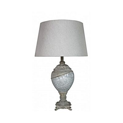 Natural Mosaic Ellipse Statement Lamp with and 19 inch Natural Shade