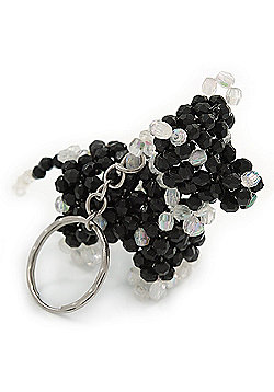 Black/ Transparent Glass Bead Scottie Dog Keyring/ Bag Charm - 8cm L