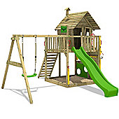Fatmoose GroovyGarden Combo XXL Climbing Tower With Apple Green Slide and Swing