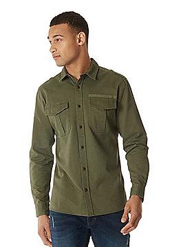 F&F Military Long Sleeve Overshirt - Khaki