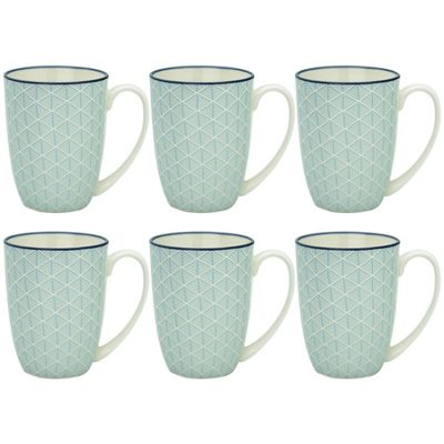 Geometric Design Porcelain Tea Coffee Mug Cups Light Blue 350ml x6