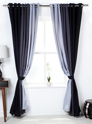 3 Tone Coloured Curtains with Tiebacks Black/Grey/Silver 66